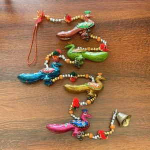 Hanging strand hand painted Indian bell decor
